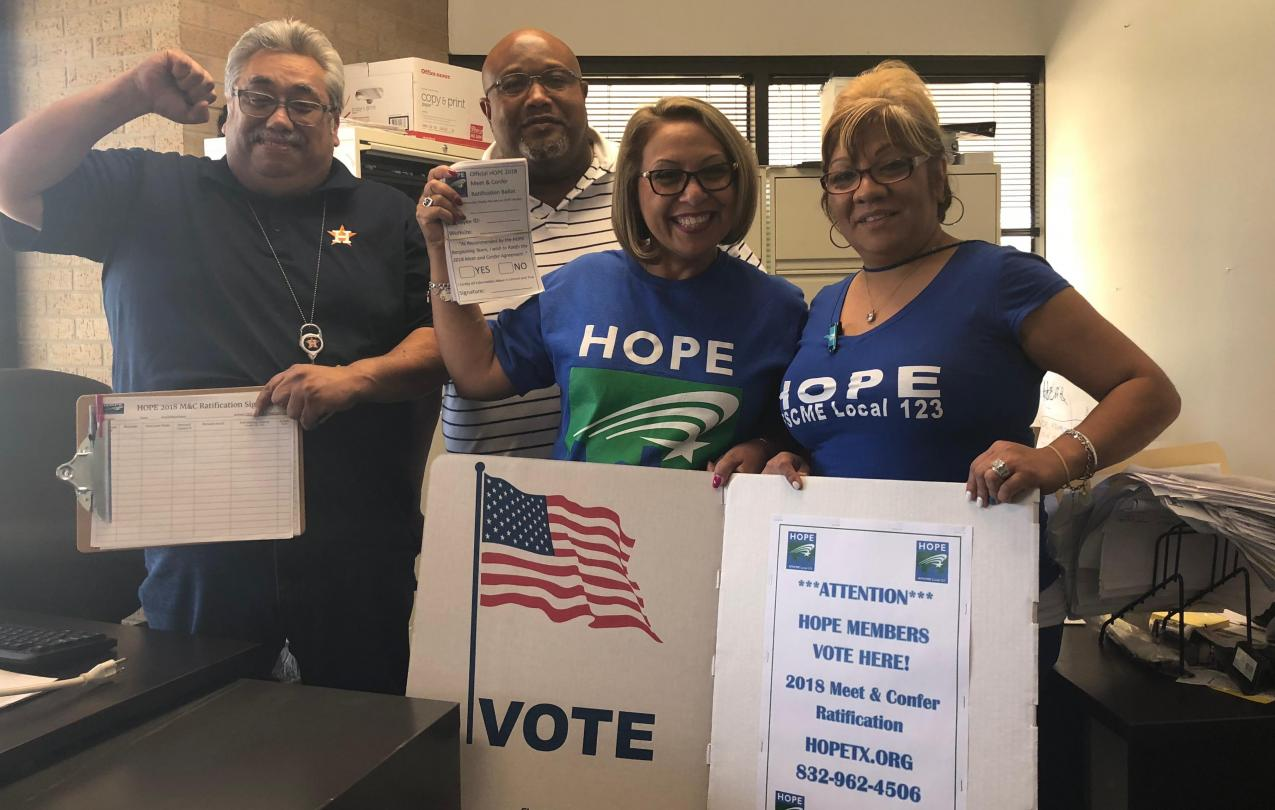 HOPE Members out in the field for ratification. Online Voting is NOW AVAILABLE.