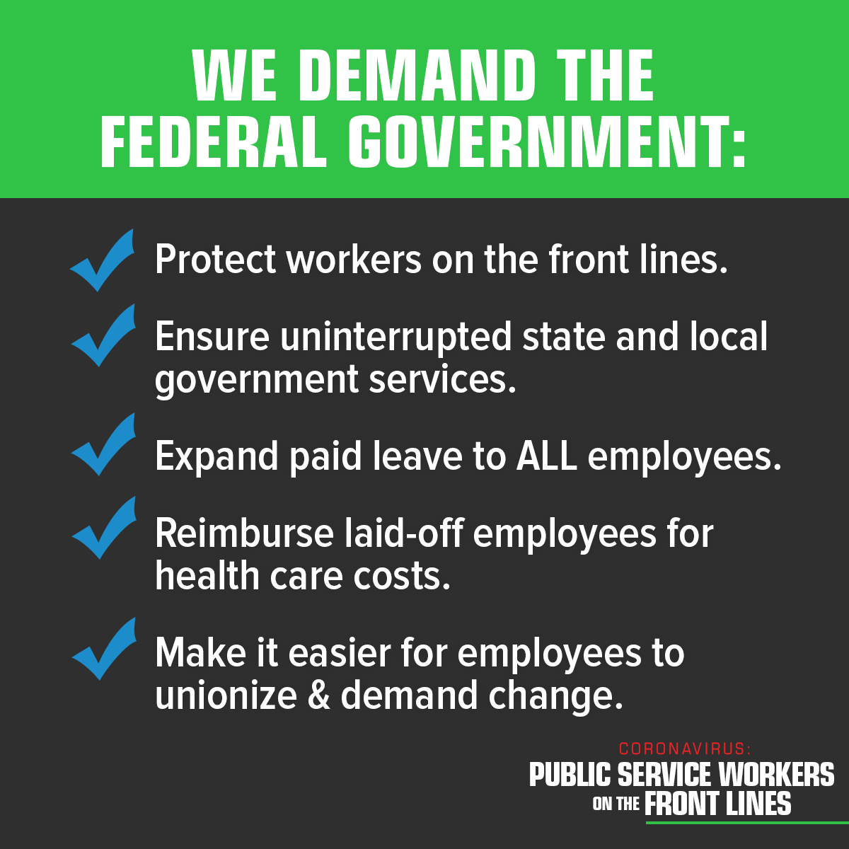 HOPE Members stand with AFSCME Brothers and Sisters across the Country to push Congress to Fund the Front Lines. Where we go one, we go all!